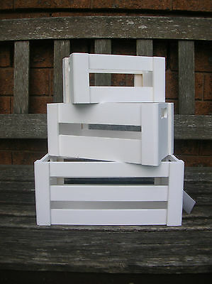 Set Of 3 Small White Wooden Country Crate Box