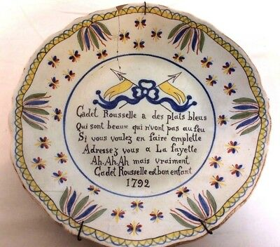 Rare Late 1700's French Pottery Quimper Shoe Maker Adverting Plate