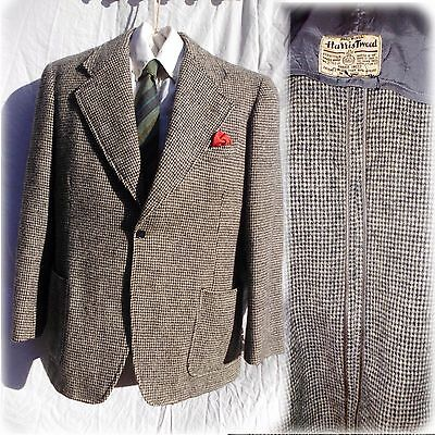 Harris tweed jacket 1940 1930 38/40 suit sport coat wool blazer patch pocket vtg