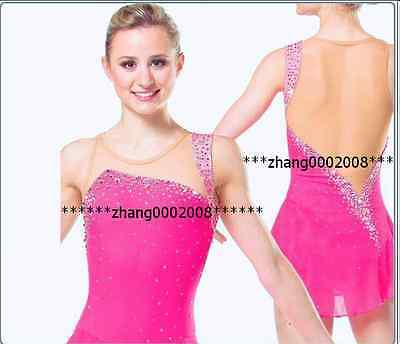 Ice skating dress.Competition Figure Skating Pink Rhythmic Gymnastics custom
