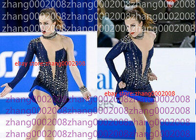 Sparkles Ice skating Competition Figure Skating dress Dark Blue RG custom