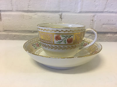 Antique 19th Century Old Paris Empire Porcelain Cup & Saucer w Floral Decoration