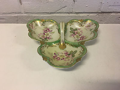 Antique Japanese Hand Painted Nippon Porcelain Candy / Dish w/ Floral Decoration