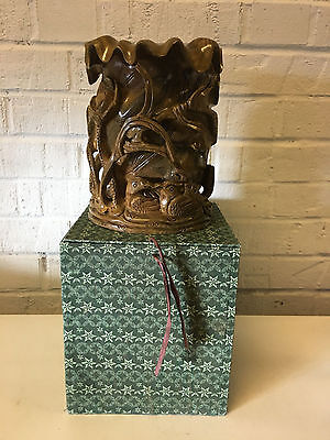 Chinese Unknown Age Wood Carved Sculpture Vase / Brush Washer Birds Floral w Box