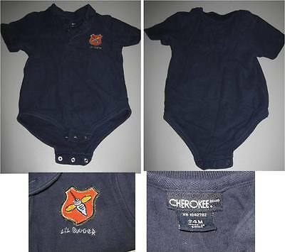 "BABY TODDLER 1-pc playsuit boy/girl  polo navy-blue ""LIL Bugger"" CHEROKEE ~24M"