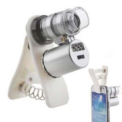 60X Zoom Clip-on LED Microscope Lens Magnifying Camera For Mobile Smart Phone A1