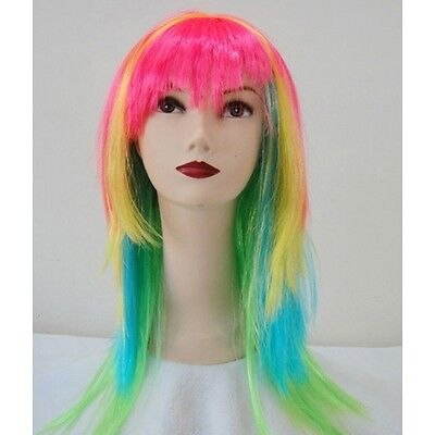 Adult Bright Coloured Neon Straight Wig Fancy Dress Accessory