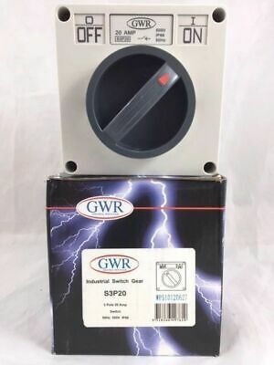 GWR S3P20 WP510120627 Industrial Isolator Switch Gear 3 Pole 20A Amp 500V IP66