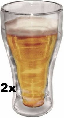 2x Double Wall Beer Mug Glass Clear 350ML Juice Drinks Glasses Glassware