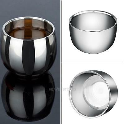 Double Layer Stainless Steel Shine Metal Shaving Mug Bowl Small Cup For Shave