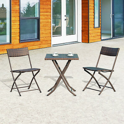 Outsunny 3PC Rattan Folding Bistro Set Outdoor Home Set 2 Folding Chair 1 Table