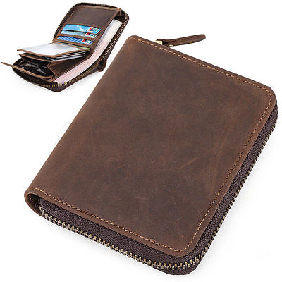 Men's Genuine Slim Leather Small Wallet Zip Around Front Pocket Card Clip Holder