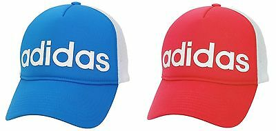 reputable site ed06f 6c9c5 Adidas Cap 2016 Trucker Hats Sports Training OSFM Blue Red Caps GYM AJ9268