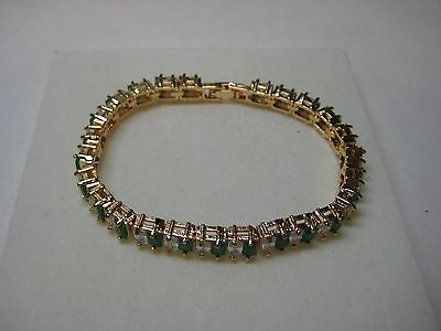 Tennis Bracelet 10.75ctw Genuine Emerald & White Topaz in 14k Yellow Gold Filled