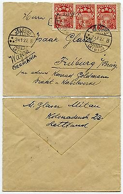 LATVIA JELGAWA 1922 SMALL ENVELOPE to GERMANY