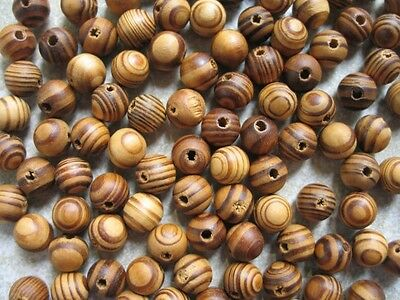 200 Wood Burly Natural Beads 8mm Brown Wooden Jewellery Making Crafts