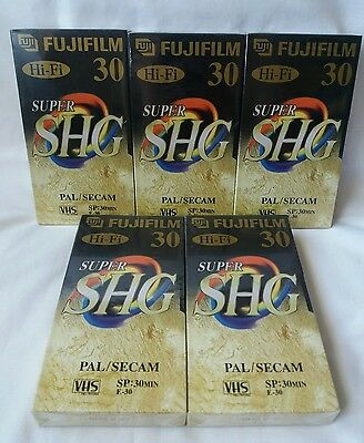 Fujifilm Hi-Fi Super SHG 30 Min VHS Video Cassette Tapes x5 - New & Sealed