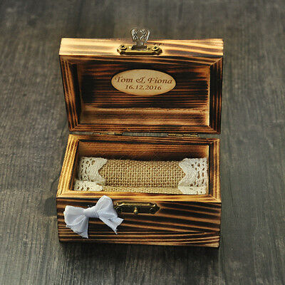 Ring Box Personalized Engraved Engagement Wedding Jewelry Box Love Date Names