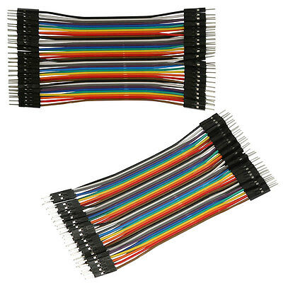 AU 40Pcs 13cm 2.54mm Male to Male Ribbon Line Cable Breadboard Arduino Jump Wire