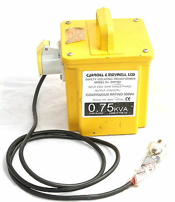 Carroll Meynell CM7501 230V 110V 500/750VA Safety Isolating Transformer
