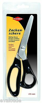 Kleiber Stainless Steel Pinking Shears ZigZag Scissors 235mm 9 Inch - Black