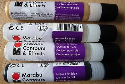 Marabu Contours & Effects Outliners for Silk x 4, set 3. 2 x Clear, Gold & Black