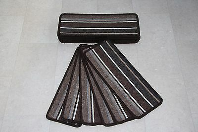 14 Brown Striped Open Plan Carpet Stair Treads Broadway Stripe Pad 14 Large Pads
