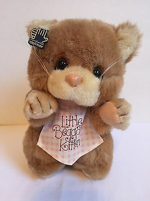 Applause LITTLE BEGGAR KITTEN CAT Brown Tan Plush Stuffed Pink Bib Vintage 1984
