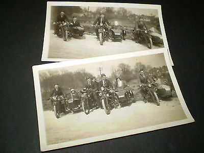1930s motorcycles with sidecars flappers two original vintage  photographs