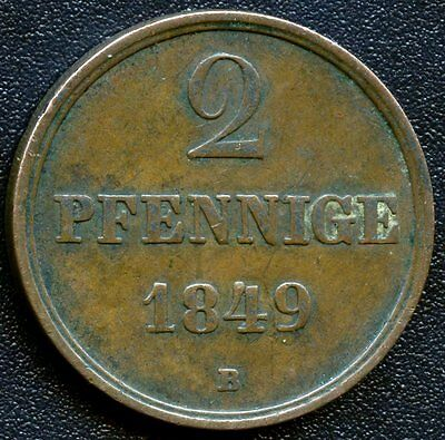 Germany 1849 'B' Hannover 2 Pfennige Coin