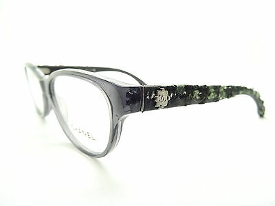 New CHANEL 3243 C 1191 Authentic Tweed Dark Trarp Gray Eye Glasses Spectacles