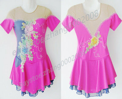 Ice skating dress.Pink Competition Figure Skating Baton Twirling Costume child16