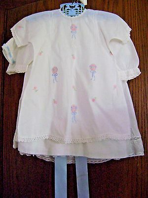 4 Vintage White Cotton Infant Baby Doll Dresses Lace Ribbon Embroidery Crochet
