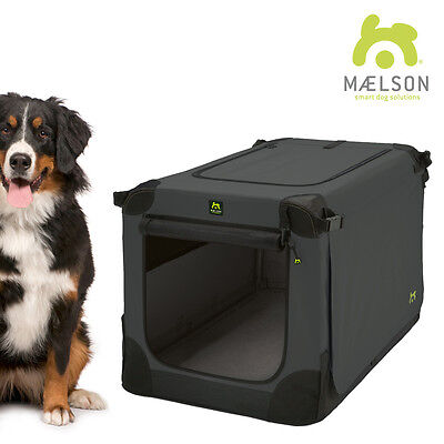 Maelson Soft Kennel Indoor Kennel Fabric Foldable Car Crate ANTHRACITE / BLACK
