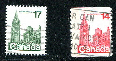 2 Different Used Canada SINGE BAR TAGGING ERROR Stamps (Lot #rn74)