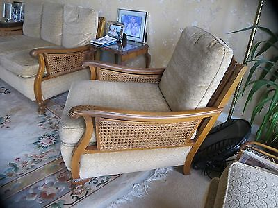 Retro Suite of 1950 Furniture Walnut 3 seater and 2 chairs & Pouffe