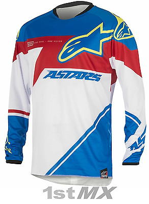 Alpinestars Racer SUPERMATIC Motocross Jersey Blue Red White Adults XL