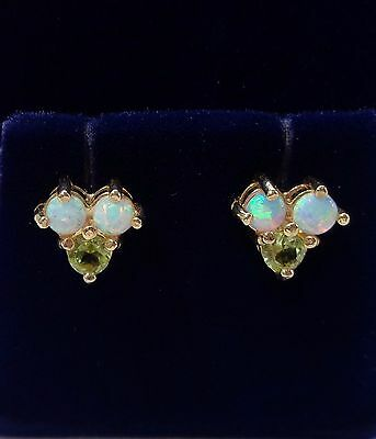 Opal and Peridot Cluster Stud Earrings in 9ct Yellow Gold