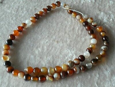 1 LOT DE 60 PERLES en Agate brune 6 mm