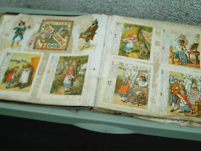 Antique Victorian  Scrapbook / Album 1882 With Linen Cloth Pages