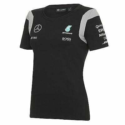 OFFICIAL Mercedes AMG Petronas F1 Womens Ladies Team T-Shirt BLACK - NEW