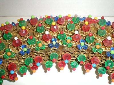 VTG 60s Kitsch Pinwheel Gold Macaroni Colorful Beaded Handmade Christmas Wreath