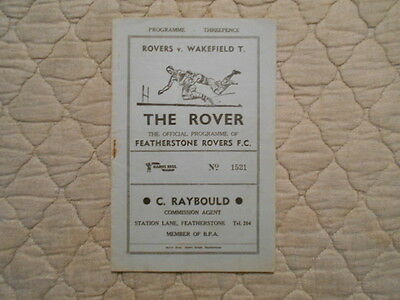 Featherstone V Wakefield Rugby League Match Programme 1957