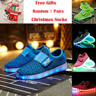 NEW Children Boys Girls Running shoes Luminous Sneakers LED Light Up Kids Shoes