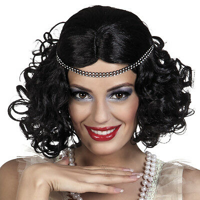 Adults Ladies Black Flapper Girl 20s Charleston Wig Fancy Dress Accessory