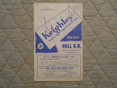 Keighley V Hull Kr Rugby League Match Programme 1951