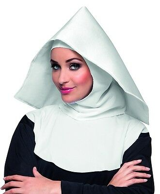 White Mother Superior Nun Hood Habit Fancy Dress Accessory