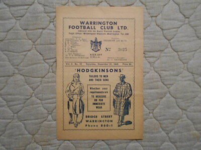 Warrington V Wakefield Rugby League Match Programme 1949