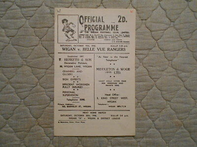 Wigan V Belle Vue Rangers Rugby League Match Programme 1946
