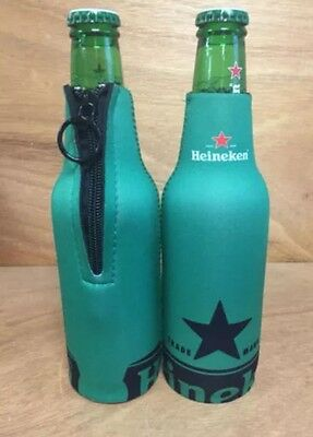 Heineken Zip Up Bottle Koozie Set of 4 - NEW with Free Shipping